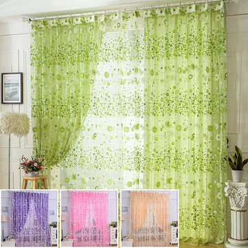 100x200cm Flower Print Tulle Window Curtain Balcony Bedroom Curtain