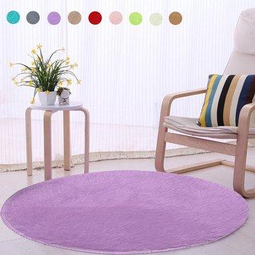 40cm Pure Colour Soft Round Shaggy Mat Home Floor Plush Carpet Bath Rug