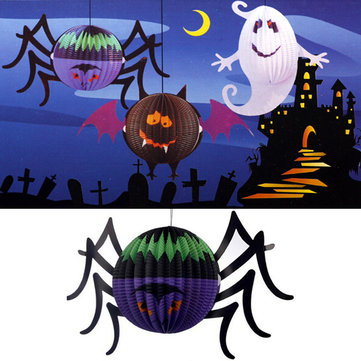 Halloween Amusing Glowing Spider Paper Lantern With LED Candle Yard Decor