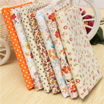 50x50cm Orange Series 7 Assorted Cotton Quilt Fabric Flower Dot Printed Fabrics Set