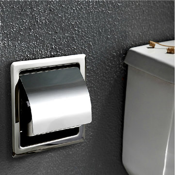 Stainless Steel Bathroom Wall-in Tissue Box Toilet Waterproof Paper Container Holder