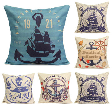 Nautical Series Mediterranean Style Throw Pillow Case Square Home Sofa Cushion Cover