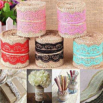 1m Natural Jute Burlap Lace Trim Ribbon DIY Sewing Craft Wedding Christmas Gift Decoration