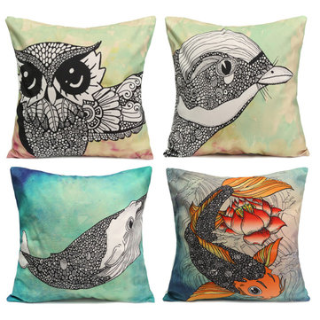 Owl Bird Fish Cotton Velvet Throw Pillow Case Back Waist Cushion Cover Home Sofa Decor