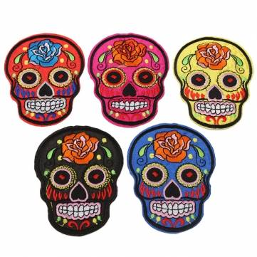 5 Colors Skull Heads Embroidered Patch Badge Iron On Patch Goth punk