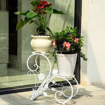 Iron Flower Pot Rack Home Garden Decor Display Stand Bonsai Holder