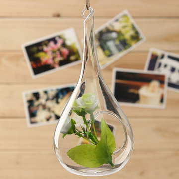 Water Drop Shape Hanging Glass Vase Hydroponic Flower Pot Garden Decor