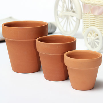 Red Ceramics Terracotta Flower Pot Clay For Small Plants Clay Planter
