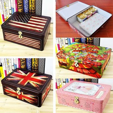 Various Retro Pattern Tea Box Envelope Jewelry Lock Boxes