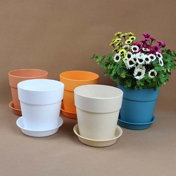 Resin Plastic Flower Pot With Tray Garden Plants Flower Pot