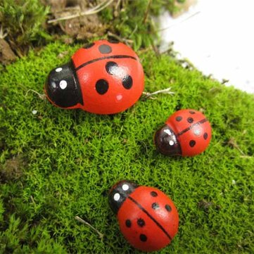 Micro Landscape Wooden Red Ladybug Home Garden Landscaping Decor
