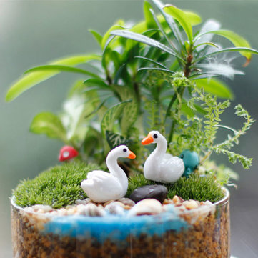Mini Resin White Swan Garden Micro Landscape DIY Decorations