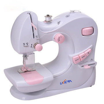 5 Stitches Multifunction Electric Double Stitches Sewing Machine Auto Winding Sewing Tool with LED