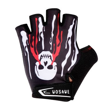 WOSAWE Bicycle Riding Gloves Shockproof Silica Gel Short Finger Gloves Skull Pattern