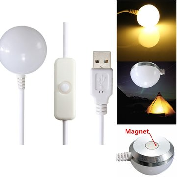 USB LED Camping Light Soft Light Outdoor Tent Bulb Lamp Magnetic Bottom