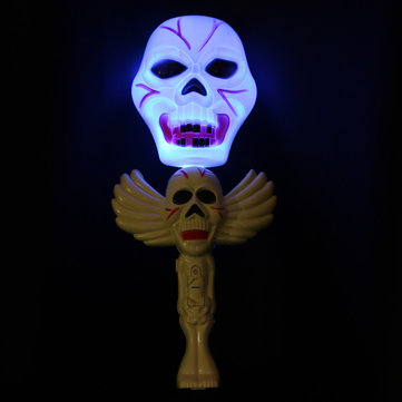Halloween Horror Toy Magic Skull Wand Lamp With Sound Effect