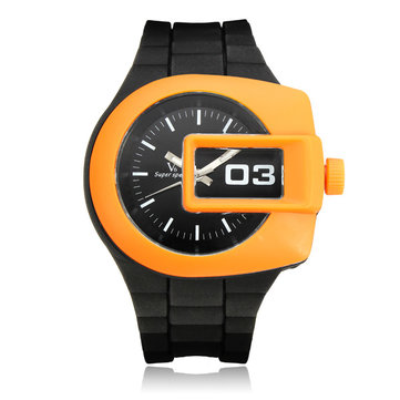 V6 Super Speed Rubber Big Dial Square Number Men Women Quartz Watch
