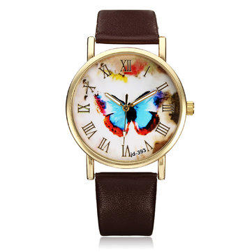 PU Leather Butterfly Gold Roman Round Women Quartz Wrist Watch