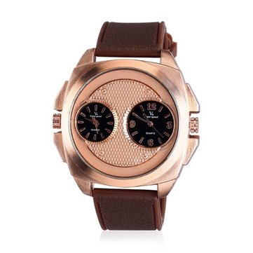 V6 V0177 Men Two Eyes Stainless Steel Dial Silicon Band Analog Watch