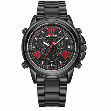 WEIDE Men Roman Numerals Analog-Digital Stainless Steel Sport Watch