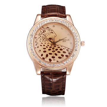 Diseño de leopardo de dial womage mujeres rhinestone pu cuero reloj de cuarzo
