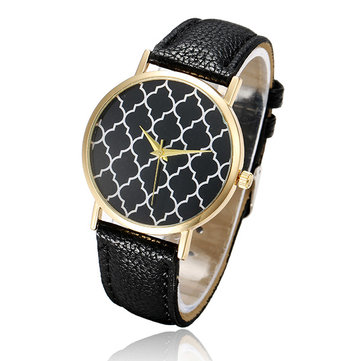 Fashion Women Grid Pattern No Number Leather Quartz Watch