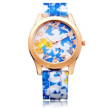 Silicone Flower Butterfly Round Gold Women Quartz Wrist Watch