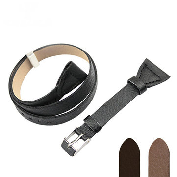 YAZOLE 20MM Black Brown PU Leather Long Watch Strap Watch Band