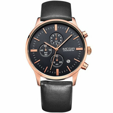 MEGIR 2011 Men Casual Business Chronograph Calendar Leather Quartz Watch