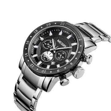 Megir 3108 Men Business Casual Chronograph Calendar Stainless Steel Quartz Watch