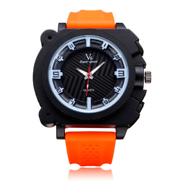 V6 V0191 Super Speed Big Dial Number Rubber Men Wrist Watch
