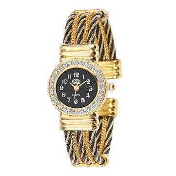CUSSI Crystal Round Dial เคส สร้อยข้อมือผู้หญิงข้อมือนาฬิกาข้อมือ