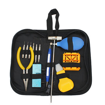 13 PCS Watch Repair Tool Kit Watch Case Opener Hammer Pliers Dust Blower