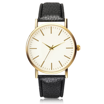 Fashion Simple No Logo Women Strip Type Round Dial Leather Quartz Watch