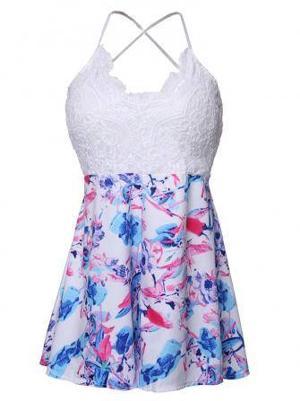 Women Backless Lace Sleeveless Floral Printed Playsuit Jumpsuit Short Romper Party