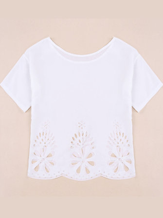 Women Casual White Short Sleeve Floral Hollow Hem Loose Chiffon T Shirt Blouse