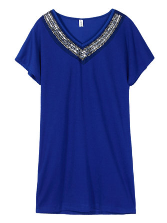 Women Spangle V Neck Beading Loose Plus Size Dress