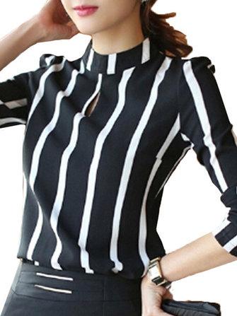 Women Hollow Out Chiffon Stripe Long Sleeve Blouse