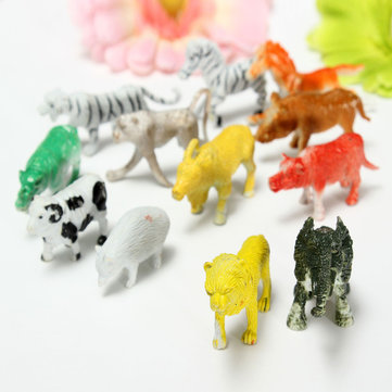 12 Mixed Wild Animal Zoo Figures Baby Kid Gift Set