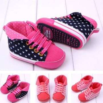 Baby Toddler Bandage Love Prewalker Rubber Sole Crib Shoes