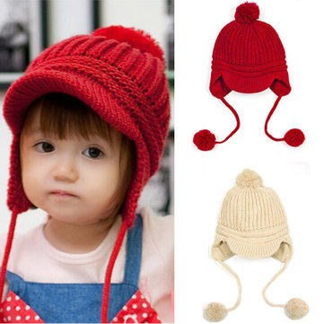 Baby Girl Boy Winter Crochet Knitted Woolen Warm Beanie Hat Cap