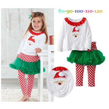 Kid Baby Girl Christmas Santa Long Sleeve Top+Pants Outfit Set
