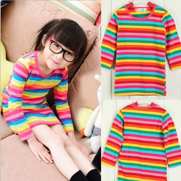 Girls Rainbow Print Dress Kids Spring Winter Casual Clothing