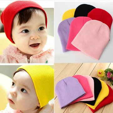 baby boy girl infant beanie candy pure color knit cap hat at Banggood ... 5edab90d750