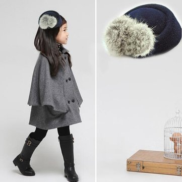 Children Artificial Rabbit Fur Ball Hat Hairpin Adult Stewardess Cap