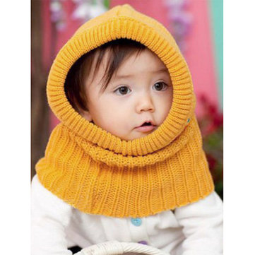 Baby Boys Girls Winter Hooded Scarf Shawl Knitted Earflap Beanie Hats