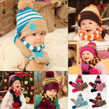 Baby Children Warm Christmas Smiling Star Print Hat Scarf Set