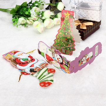 걸려있는 스트랩과 미니 선물 카드 크리스마스 트리 DIY 액세서리 선물 태그