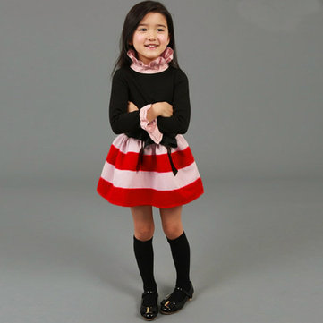 Baby Children Girls Party Dress Stripe Bow Gown Fancy Skirt