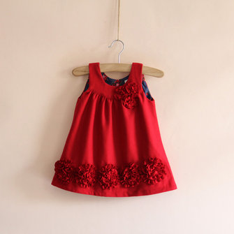 Baby Children Girls Woolen Disk Flowers Vest Dress